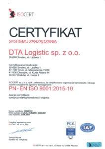 ISO certyfikat jakości DTA